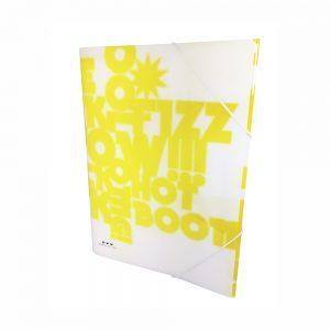 Carpeta Con Gomas Color Amarillo Neon PP