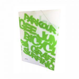 Carpeta Con Gomas Color Verde Neon PP
