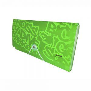 Carpeta Con Fuelle Tamaño Cupón, PP Verde Neon
