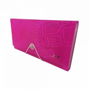 Carpeta Con Fuelle Tamaño Cupón, PP Rosa Neon