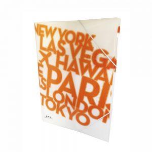 Carpeta Con Gomas Color Naranja Neon PP