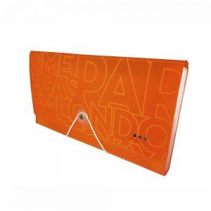 Carpeta Con Fuelle Tamaño Cupón, PP Naranja Neon