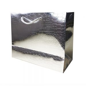Bolsa Regalo Papel Plata Brillo (L) 26X32X12cm