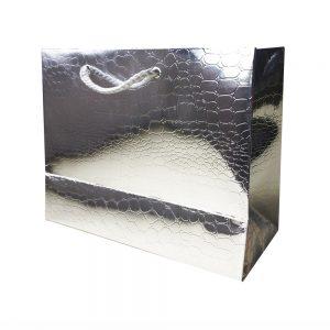 Bolsa Regalo Papel Plata Brillo (M) 18X23X10cm
