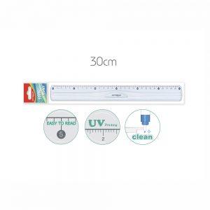 Regla 30 cm  De Plástico Transparente