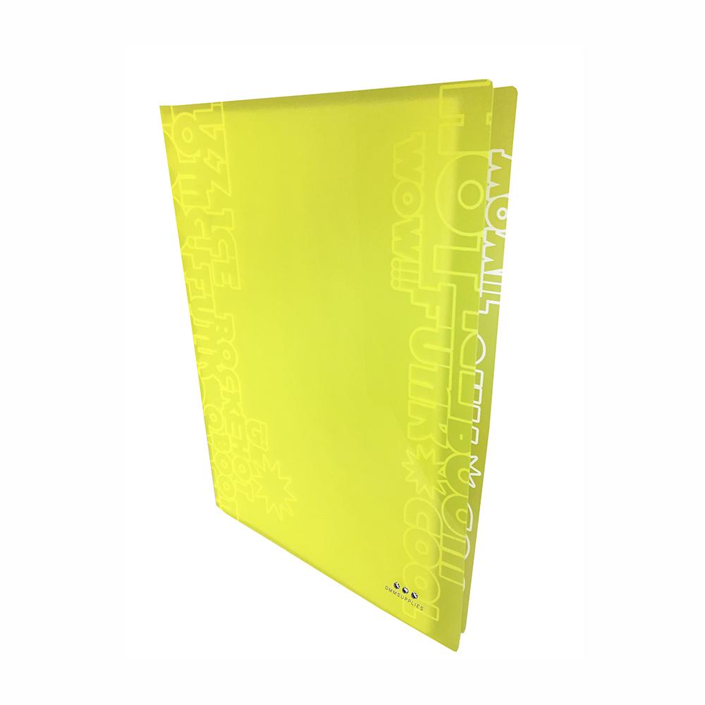 Carpeta Con 30 Fundas, PP Amarillo Neon