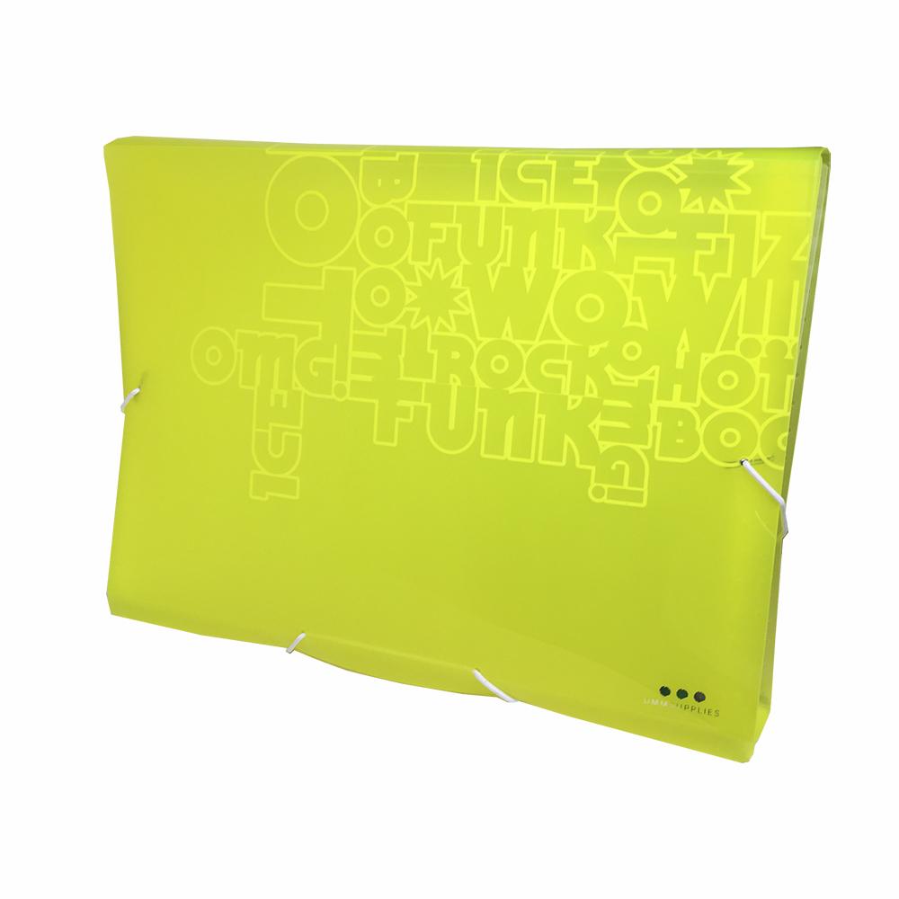 Carpeta Con Fuelle A4, PP Amarillo Neon