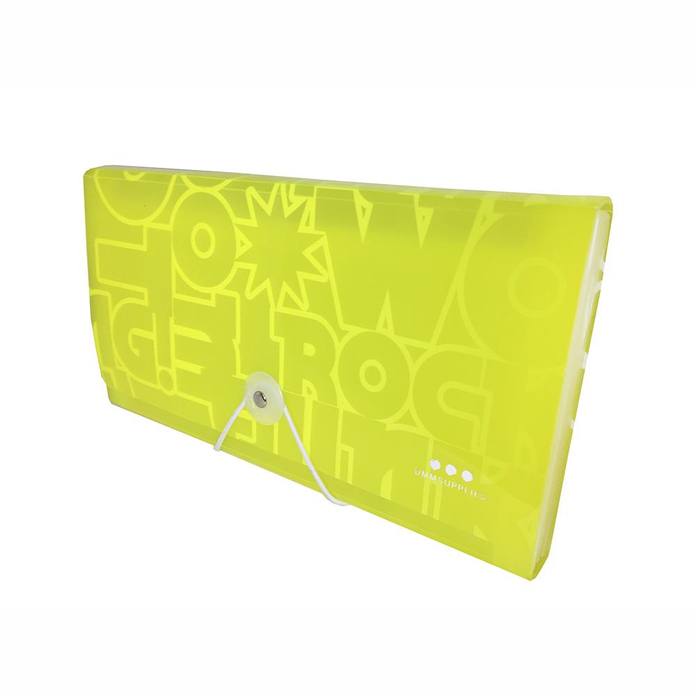 Carpeta Con Fuelle Tamaño Cupón, PP Amarillo Neon