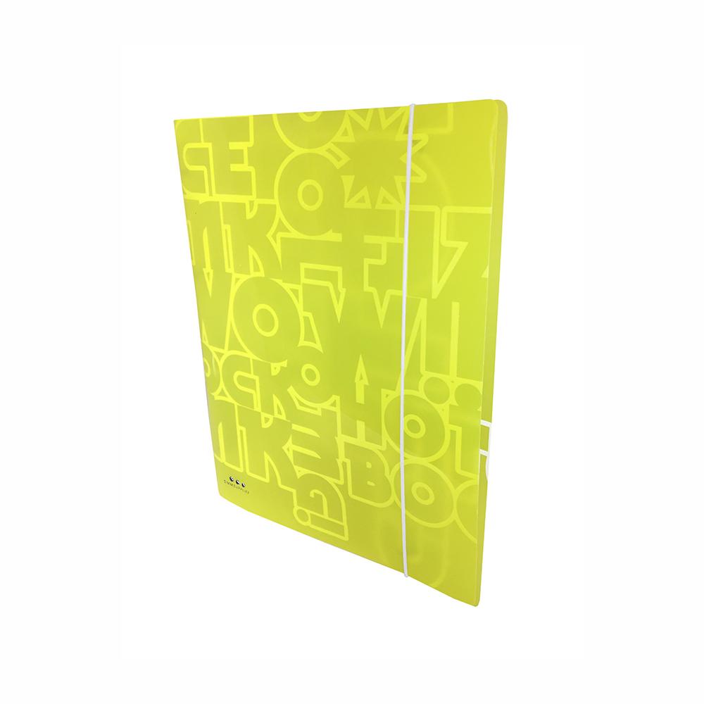 Carpeta Con 4 Anillas ,PP Amarillo Neon