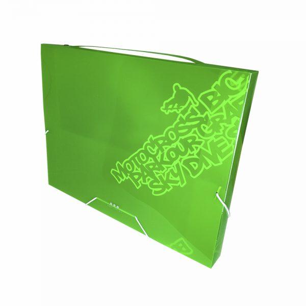 Carpeta De Proyectos Con Gomas, PP Verde Neon