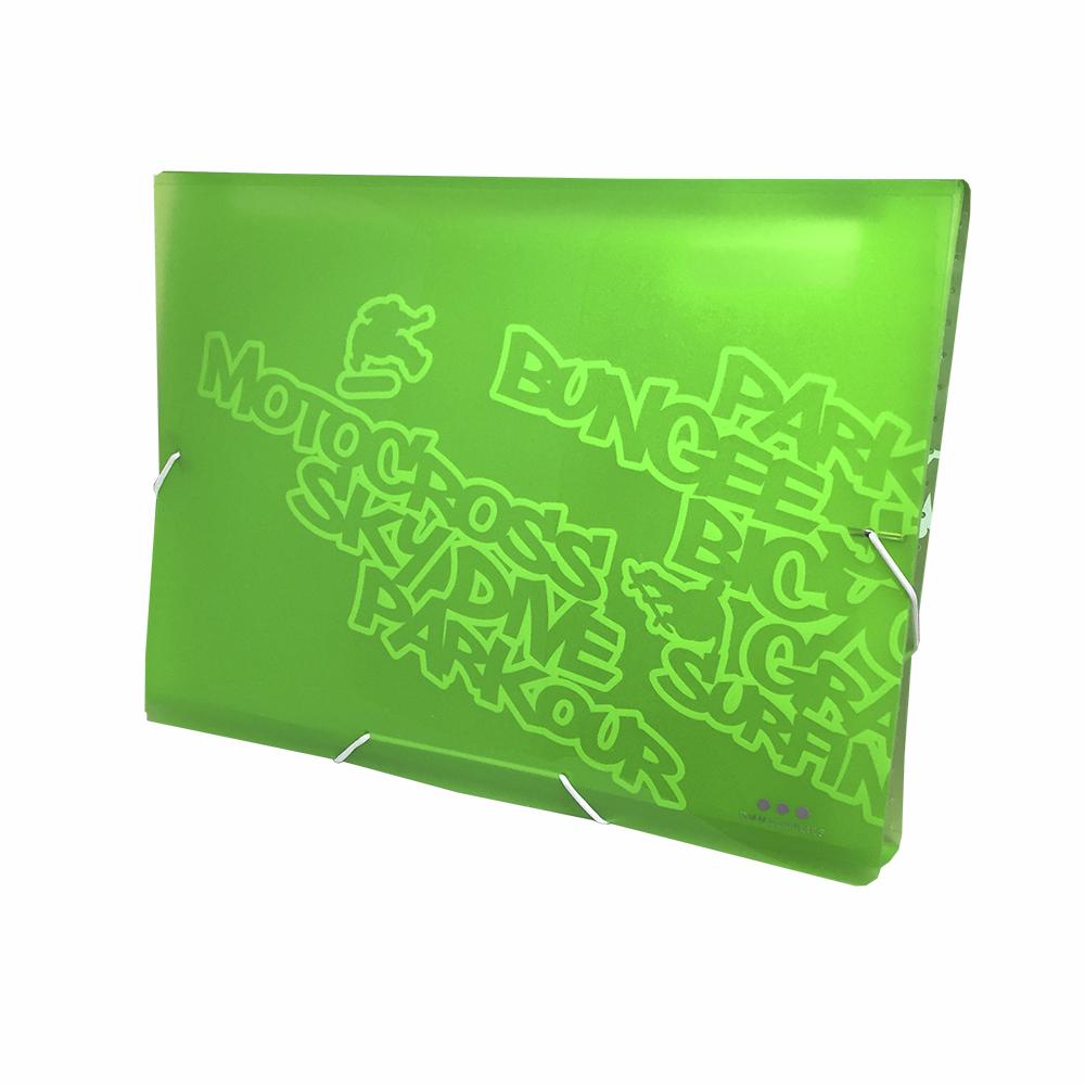 Carpeta Con Fuelle A4, PP Verde Neon