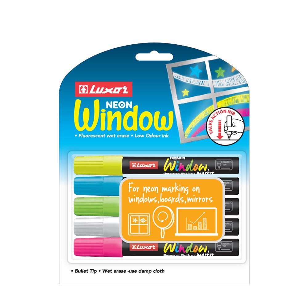 Luxor Neon Window Marker 5 uds surtido