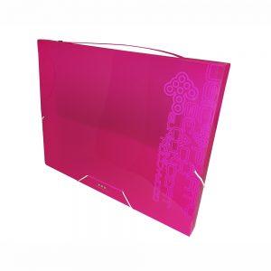 Carpeta De Proyectos Con Gomas, PP Rosa Neon