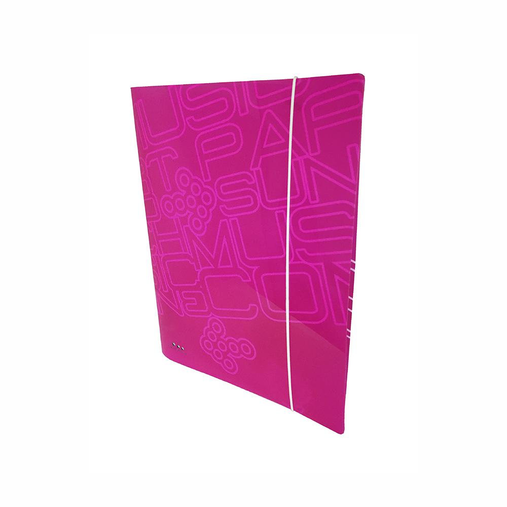Carpeta Con 4 Anillas ,PP Rosa Neon