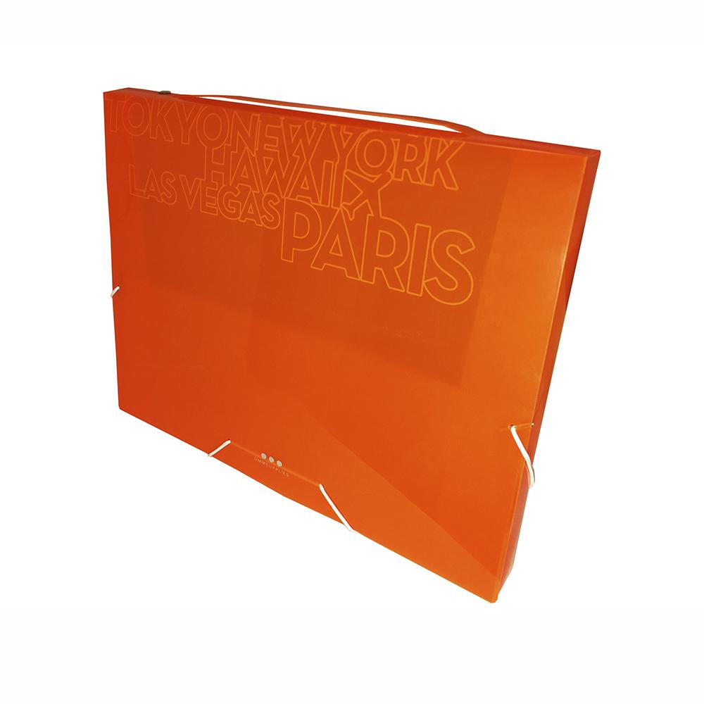 Carpeta De Proyectos Con Gomas, PP Naranja Neon