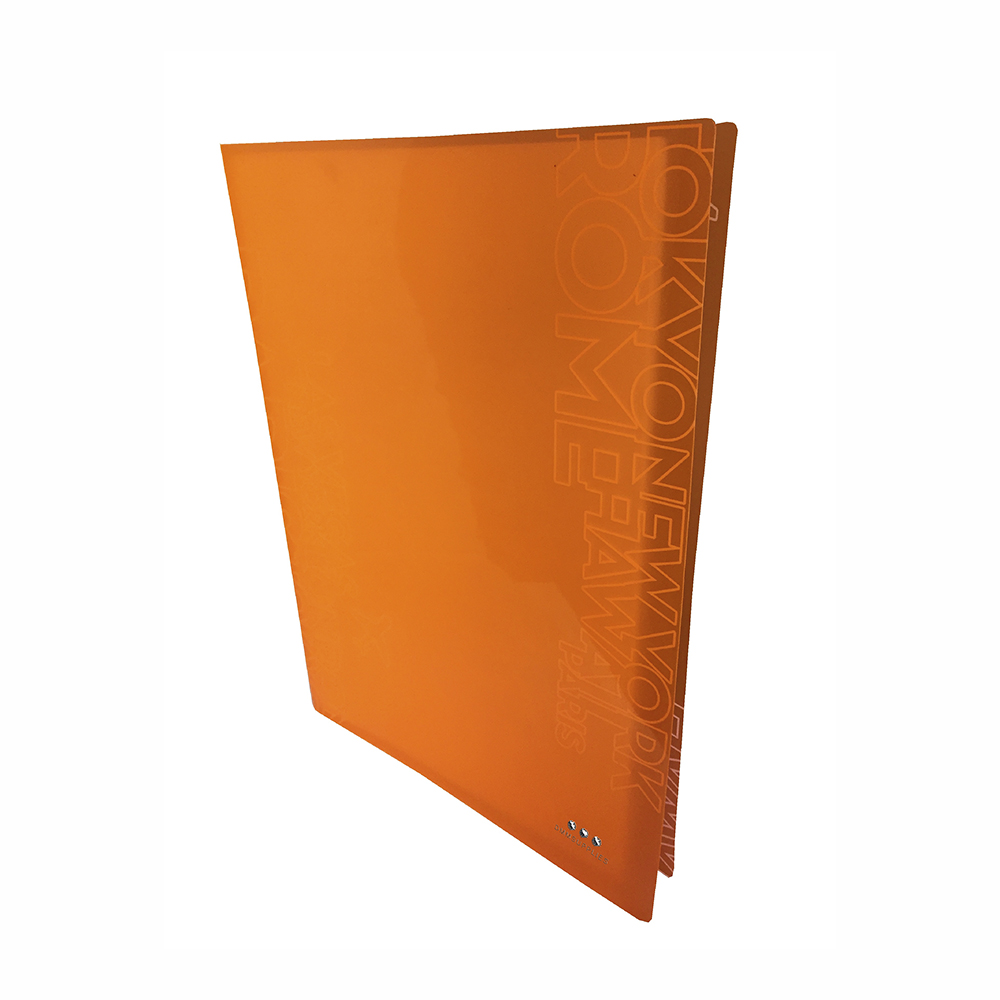 Carpeta Con 30 Fundas, PP Naranja Neon