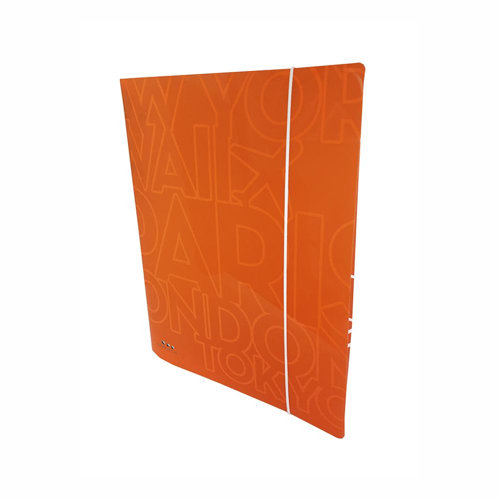 Carpeta Con 4 Anillas ,PP Naranja Neon