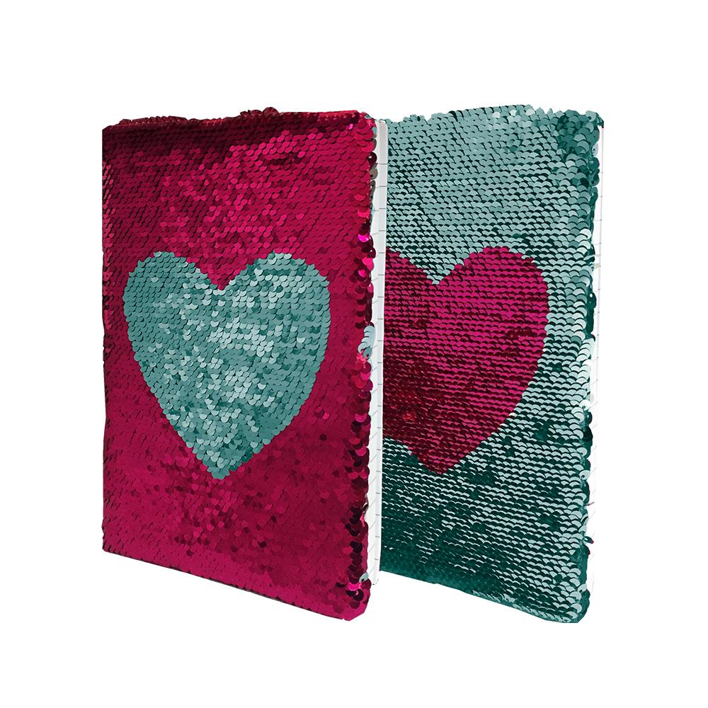 Libreta A5, 80Hojas, Cubierta De Lentejuelas Reversibles Rosa/Verde