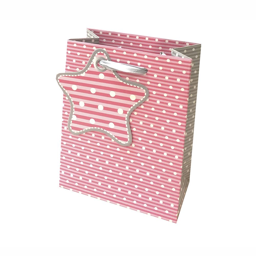 Bolsa Regalo Diseño Topitos Rosa (S) 210Grs 11X14X6,5cm