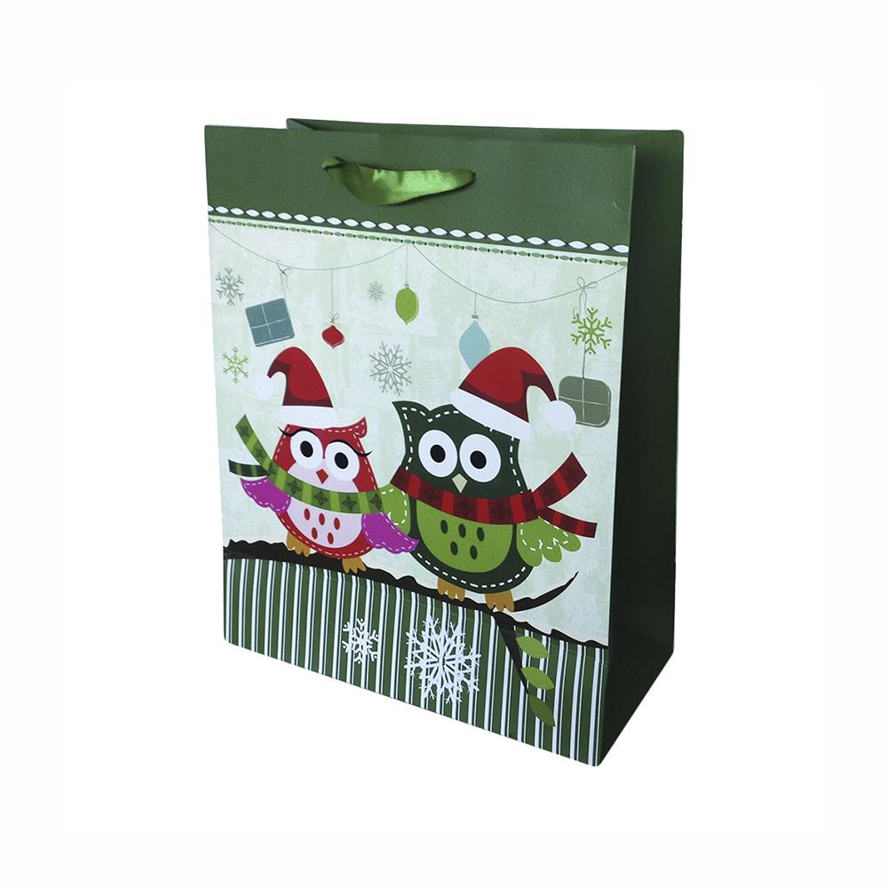 Bolsa Regalo Buho Navidad 3D Color Verde (L) 26X32X12cm