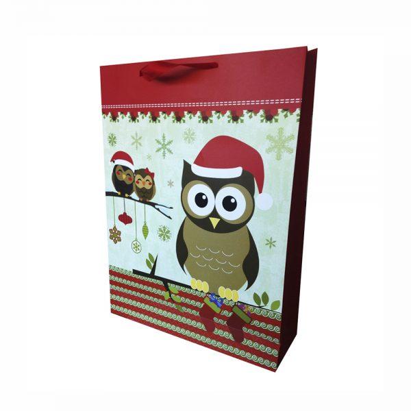 Bolsa Regalo Buho Navidad 3D Color Rojo (XL) 31X42X12cm